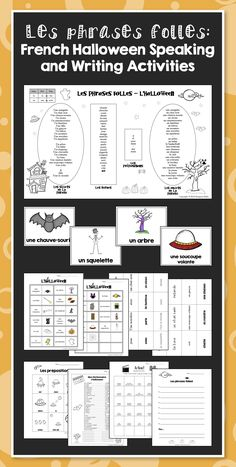 Les phrases folles: French Halloween Speaking and Writing Activities - More than random worksheets, these sequenced activities will help your students go from learning vocabulary to being able to make their own creative Halloween sentences.