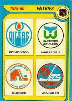 March 1979 – The NHL announced that they would be expanding by absorbing four teams from the WHA – Edmonton, Hartford, Winnipeg, and Quebec City. Only one of those franchises has never relocated, although Winnipeg got a team back. Rink Hockey, Ice Hockey Teams, Hockey Games, Hockey Stuff, Hockey Logos, Nhl Logos, Sports Logos, Sports Teams, Nhl Players
