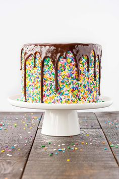 Funfetti Cake – homemade funfetti layer cake filled with sprinkles, topped with fluffy frosting, more sprinkles and a drippy chocolate […] Food Cakes, Cupcake Cakes, Funfetti Cake Homemade, Homemade Cakes, Bolo Confetti, Chocolates, Fluffy Cream Cheese Frosting, Chocolate Drip, Chocolate Ganache
