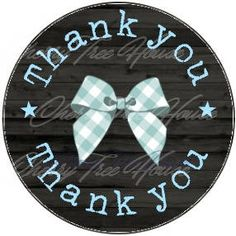 Thank You digital labels Bow printable stickers  circles tag Digital sheet Jpg images graphics DIY label sticker tag di CherryTreeHouse su Etsy