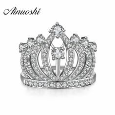 Newest 925 Sterling Silver Princess Crown Rings For Women European Brand Bridal Wedding Engagement Ring Tiara Rings Fine Jewelry #EngagementRings