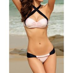 Color Block Ruched Halter Casual Lace-Up Women's Swimwear