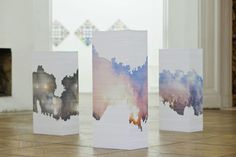 This is a very interesting art installation by Aleksandra Domanovic. There are three stacks of paper (each with sheets), and inkjet printing on some of the pages. Paper Installation, Art Installations, Sunday Paper, Royal College Of Art, Recycled Art, Contemporary Artists, Art Lessons, Les Oeuvres, Paper Art