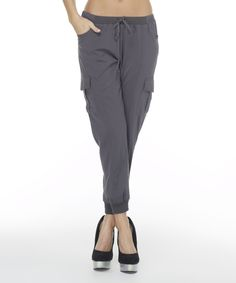 Look at this Mono B Gray Side-Pocket Harem Pants on #zulily today!