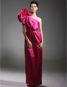 Stretch Satin Sheath/ Column One Shoulder Floor-length Evening Dress inspired by Naomi Campbell #00110571