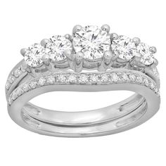 Elora 14k Gold 1 1/2ct TDW Round-cut Diamond 5-stone Bridal Engagement Ring With Matching Band Set (H-I, I (Size 5.5, White Gold), Women's