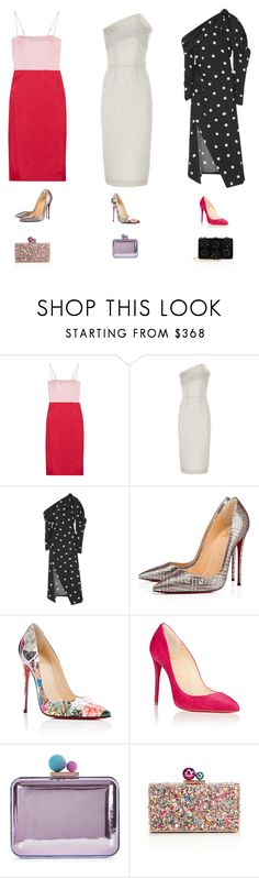 """"""""""" by lilsgrey ❤ liked on Polyvore featuring Staud, Roland Mouret, Monse, Christian Louboutin, Sophia Webster and Prada"""