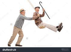 Two Joyful Senior Gentlemen Swinging On A Swing And Having Fun Isolated On White Background Стоковые фотографии 397448266 : Shutterstock