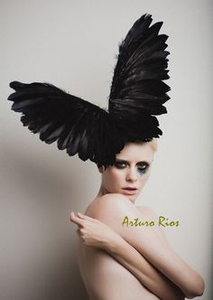 Black Couture Wings, Fashion Headpiece, Fascinator, Avant garde hat, Derby Hat, Melbourne Cup hats,Black Halloween Hat on Etsy, $298.00