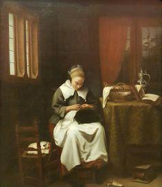 The sempstress. Cornelis Bisschop.  Galería Nacional