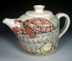 Animal Teapots | Hand Painted Pottery with Animal and Dog Art by Nan Hamilton Boston MA