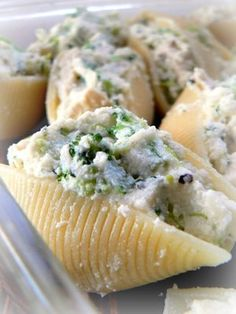 Pesto Chicken Broccoli and Cheese Stuffed Shells....Ricotta, Mozzarella, and Parmesan :)