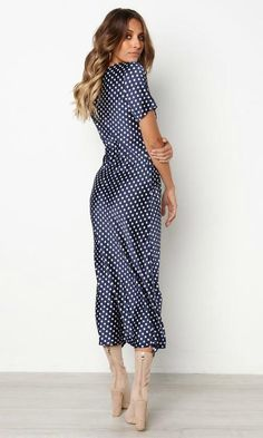 MILA WRAP DRESS IN BLUE POLKA DOT – Koogal Cute Summer Dresses, Pretty Dresses, Blue Dresses, Casual Dresses, Dresses For Work, Summer Outfits, Night Outfits, Classy Outfits, Beautiful Outfits