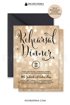 Champagne bokeh and black calligraphy script rehearsal dinner invitations with sparkly twinkling lights and chic black script.  Choose from ready made printed cards with envelopes, or printable rehearsal dinner invitations that you can DIY at home.  Black envelopes also available at digibuddha.com