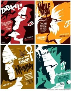 Artist Tom Whalen makes new posters for old movies. Heavily inspired by the original poster master Saul Bass -- as well as Russian const. Tom Whalen, Classic Monster Movies, Classic Horror Movies, Classic Monsters, Classic Movie Posters, Movie Poster Art, Horror Movie Posters, Horror Films, Film Posters