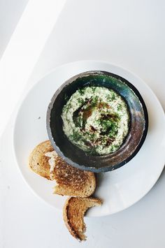 White bean hummus with dill and sumac.