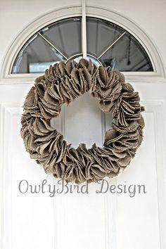 Burlap Wreath in Rustic Beige by owlybirddesign on Etsy, $40.00
