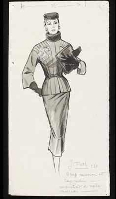 Jacques Fath, Ensemble, in The Lady, illustration by Marcel Fromenti, 1953-1954, Victoria & Albert Museum, London