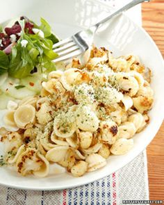 Orecchiette with Caramelized Cauliflower, Shallots, and Herbed Breadcrumbs Recipe & Video | Martha Stewart