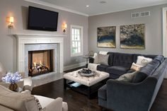 Gray Wall White Fireplace Design Ideas, Pictures, Remodel and Decor