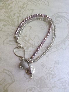 Pink And Silver Beaded Bracelet Romantic by TamiLopezDesigns, $24.00