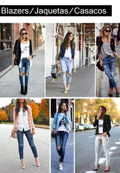 Destroyed Jeans com Blazers/ Jaquetas/ Casacos