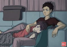"""zero0810: """"IwaOi (or OiIwa?) for @doggirl365 [+ random .gif version because yes] They're probably watching E.T.. Or maybe The War of the Worlds, and Oikawa is crying because all the aliens die at the..."""