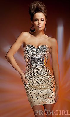 Short Gold Strapless Metallic Dress | Golden Dresses | Pinterest ...