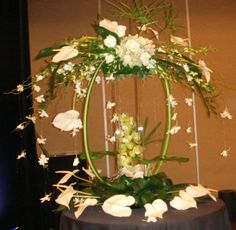 White Anthuriums and Orchids demonstration arrangement by Phil Rulloda Tropical Floral Arrangements, Floral Centerpieces, Flower Arrangements, Hurricane Centerpiece, Altar, Flower Decorations, Table Decorations, Beautiful Flowers Garden, Little Flowers