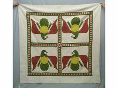 "Rare 19th c. Penna. ""Four Eagles"" applique quilt with pieced diamond sashing. 82""Sq., Copake Auction, Inc."