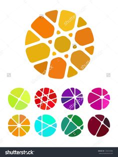Design round logo element. Crushing abstract circle pattern. Colorful precious…