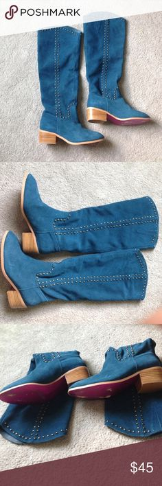 Twiggy London suede tall boots Turquoise tall suede boots with gold studs inside and outside of boots. Worn twice. No missing studs Twiggy london Shoes Heeled Boots
