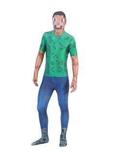 Pixelated Green Man Morphsuit Costume (Adult XL)