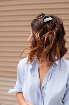Totally my style...wavy hair, sunglasses, and menswear inspired shirt.
