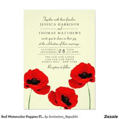 Red Watercolor Poppies Floral Wedding Collection 5x7 Paper Invitation Card