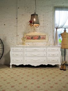 Painted Cottage Chic Shabby White Vintage by paintedcottages, $595.00