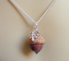 Acorn Necklace Lucky Charm Kiss Necklace Acorn Charm by NeatEats