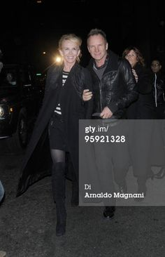 NEW YORK - JANUARY 20: (ITALY OUT, NY DAILY NEWS OUT, NY NEWSDAY OUT) Sting (R) and Trudie Styler leave Radio City Music Hall after a Lady Ga Ga concert January 20, 2010 in the Queens borough of New York City. (Photo by Arnaldo Magnani/Getty Images)