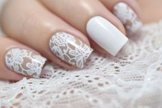 White Lace #NailArt by @Marine_LP is featured for #ManicureMonday at http://blog.aquariann.com/search/label/manicure%20monday?max-results=3