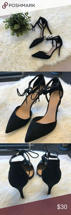ASOS Black Heels ASOS size 8 black heels. Ties at the ankle. Cute but fits more like an 8 1/2 in my opinion? Asos Shoes Heels