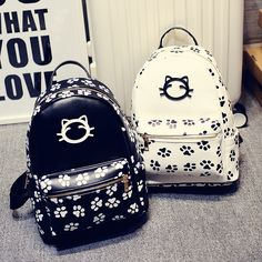 2017 New Kitten Printing Kawaii Backpack Women College Wind Shoulder Bag Casual Bags girl Cat Pu Leather Cute Backpacks Harajuku