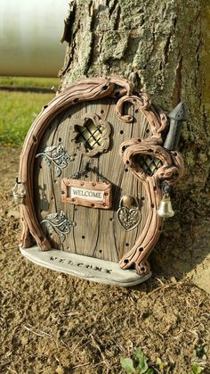 Fairy Door Personalized 977 gnome hobbit by FairyDoorsByTommie Fairy Garden Doors, Fairy Garden Houses, Fairy Doors, Fairies Garden, Fairy Crafts, Clay Fairies, Gnome House, Gnome Door, Fairy Furniture