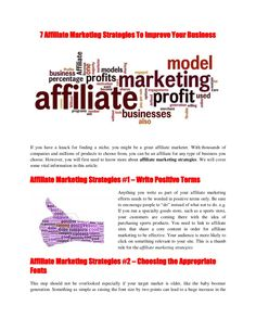 5-affiliate-marketing-strategies-to-improve-your-business-21605646 by Chan Yew via Slideshare