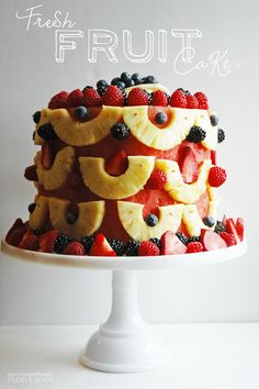 World's Best Ever Fresh Fruit Cake with Watermelon, Pineapple, Blueberries, Raspberries, Strawberries, and Apples