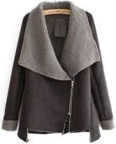 Grey Long Sleeve Oblique Zipper Coat