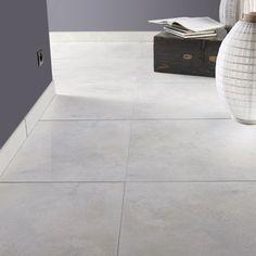 Carrelage sol et mur blanc mineral effet béton Live l.60 x L.60 cm
