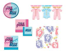 Gender reveal celebration ideas!  Tiny Toes Printed Confetti  Baby Clothes Flag Banners  Team Pink or Blue Beverage Napkins – Reversible  Team Pink or Blue Luncheon Napkins  Team Pink or Blue Paper Dessert Plates