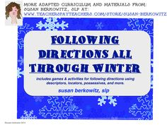 Following Directions through the Winter with these fun games and activities to practice listening and using language skills. Great fun for speech therapy or in class. $ http://www.teacherspayteachers.com/Product/Following-Directions-All-Through-the-Winter-for-speech-therapy-special-education-1547592