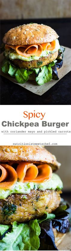 Spicy chickpea burger with coriander mayo and pickled carrots