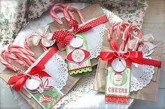 Looks like brown paper bags folded and then stitched to make the cutest Christmas pouches ever!  Michelle Wooderson